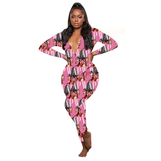 2020 Hot Salessex Print Ladies Sexy Bodycon Long Sleeve Short Jumpsuit for Women