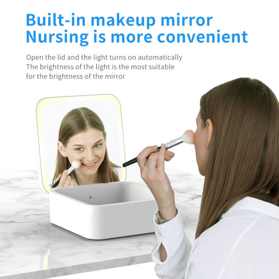 Wireless Charger Disinfection UV Sterilizer Box Built-in Makeup Mirror Nursing