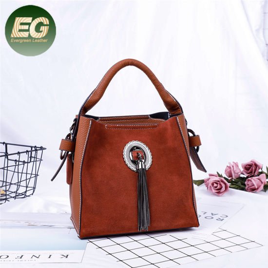 Women Tote Fashion Tassel Buckle Ladies PU Shoulder Bags Sh798 pictures & photos