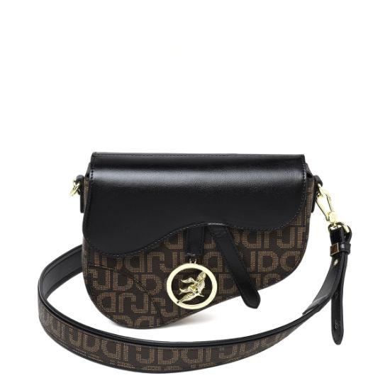 Europe New Fashion Black PVC Ladies Saddle Handbags