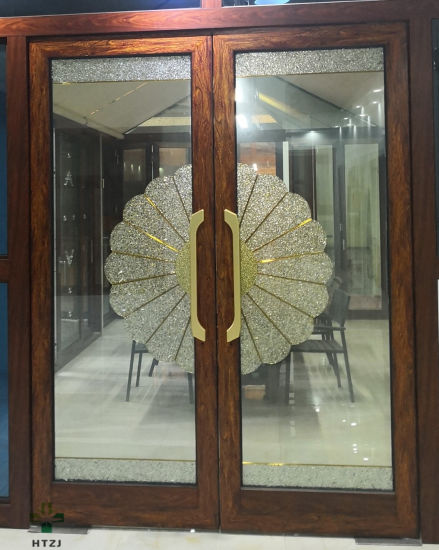 Grill Design Aluminium Wooden Window with Double Tempered Glass