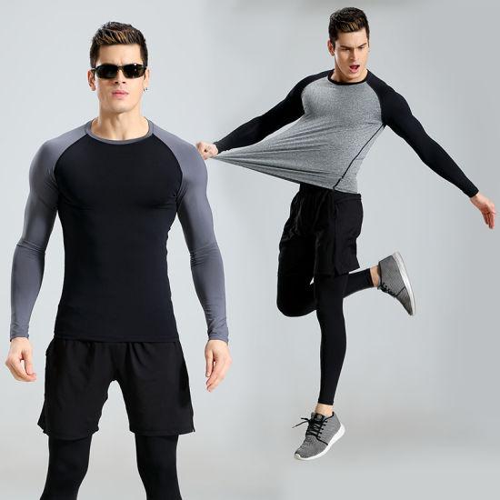 Factory Wholesale Gym Fitnesst Shirt Printed Leggings Men Sport Suits