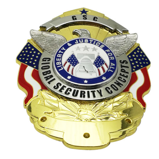 Promotion Fashion 3D Stamping Brass Gold Plated Officer Use Police Badge (110)