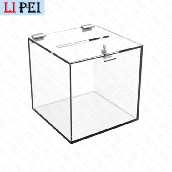 Slant Top Acrylic Black Coin Ballot Suggestion Collection Box