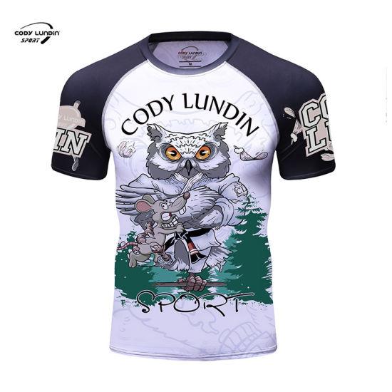 Cody Lundin Sportswear China Supplier Good Elasticity Custom Logo T Shirt with Digital Printing Men′ S Shirts for Mountain Eering