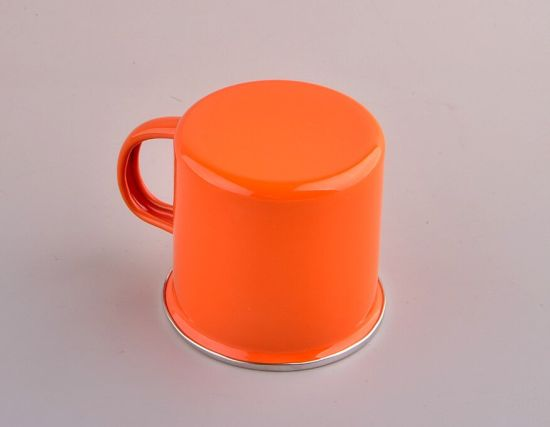 Orange Stainless Steel Rim Enamel Mug pictures & photos