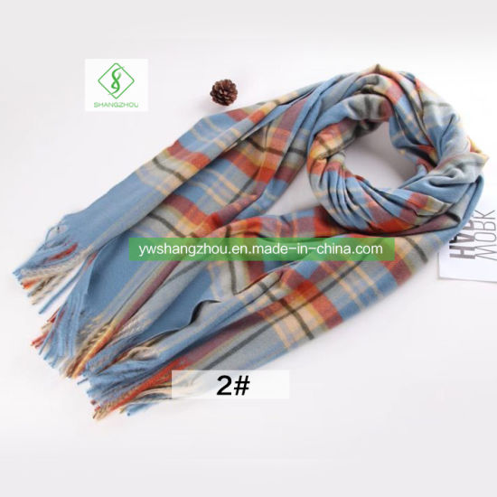 Classic Style Brushed Paid Scarf with Tassel Fashion Women Shawl