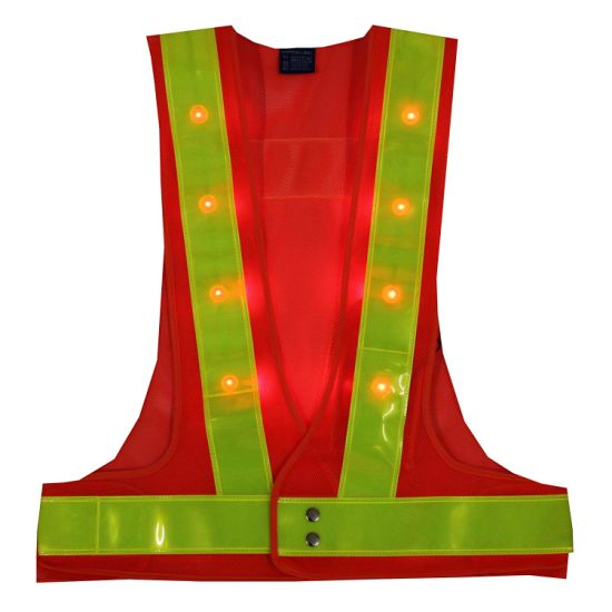 Factory Price Waterproof Breathable Adjustable Flashing LED Light Work Wear Safety Vest