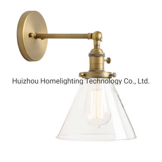 China Jlw G001 Single Sconce With Funnel Flared Glass Clear Glass Shade 1 Light Wall Lamp China Glass Wall Lamp Wall Lamps