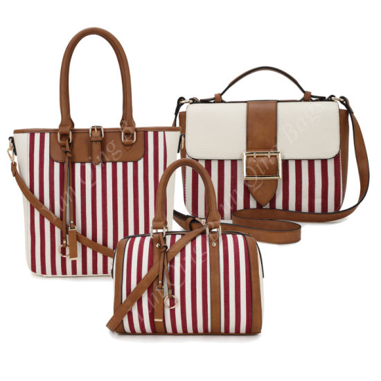 Vertical Lines Canvas Fashion Handbag Wholesale Guangzhou Lady Handbags Manufacturer