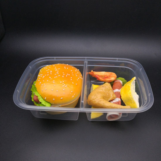 Hot Sale Food Grade Two Compartments Disposable Plastic Lunch Box pictures & photos