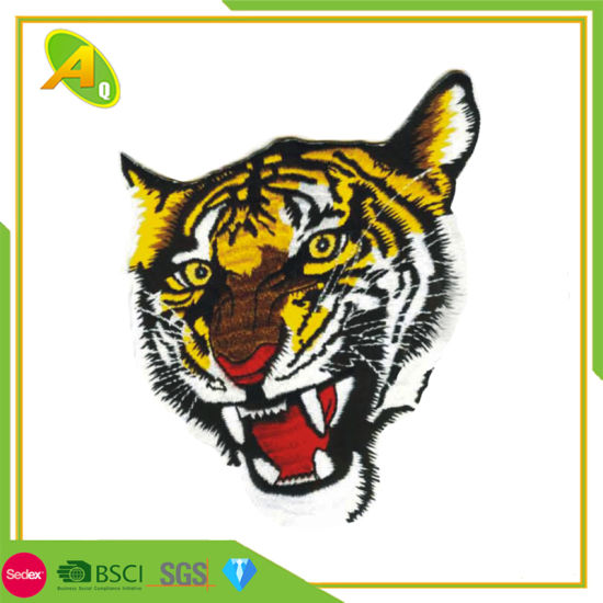 Custom Adhesive Rhinestone Brand Towel Laser Large Military Embroidery Badge Tiger Patch Back Velcro for Hat (016)