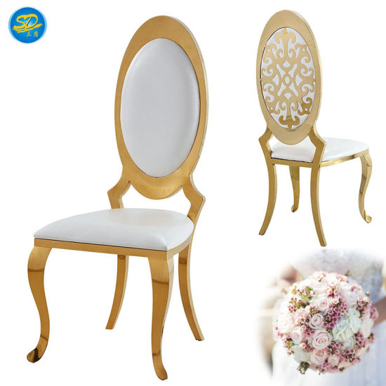 Special Round Back Design Event Wedding Banquet Stainless Steel Dining Chair pictures & photos