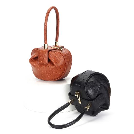 2020 Fashion Genuine Leather Ostrich Grain Ladies Dumpling Handbags