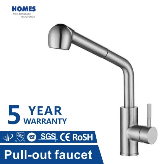 Single Handle High Arc Brushed Nickel Pull out Kitchen Faucet Tap, Single Level Stainless Steel Kitchen Taps with Pull Down Sprayer Hot and Cold Sink Mixer Tap