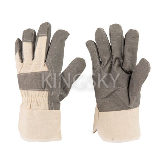 Grey Vinyl (PVC) Impregnated Artifical Leather Double Palm Work Glove