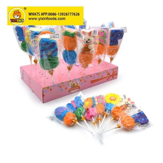 New Arrival Good Taste Colorful Cartoon Marshmallow Lollipop
