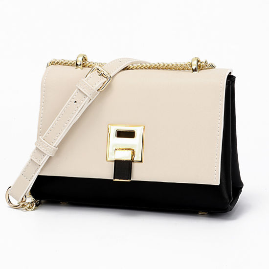 Fashion European Design Leather Shoulder Lady Handbag with Chain Strap