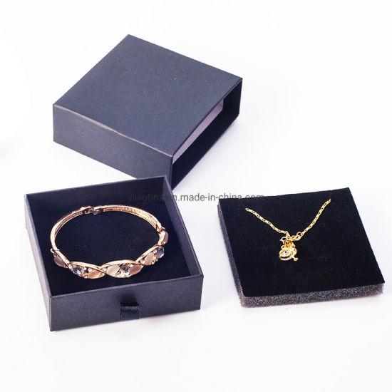 Black/White Slide Open Packaging Box Luxury Necklace Bracelet Earring Ring Drawer Box Printed Cardboard Box