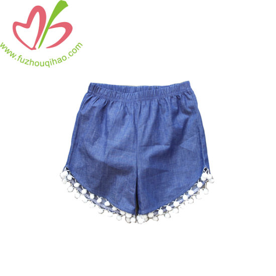 Fashion Baby Girl Denim Short Pants with Tassel Bottom