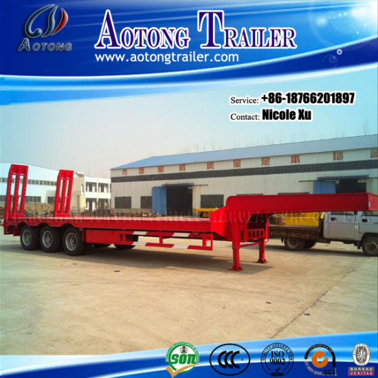 3 Axles 50 Ton Low Flatbed Semi Truck Trailer (LAT9322TDP) pictures & photos