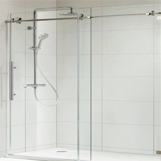 Frameless Sliding Shower Enclosure in Bathroom with 8mm Clear Glass and Stainless Steel Hardware