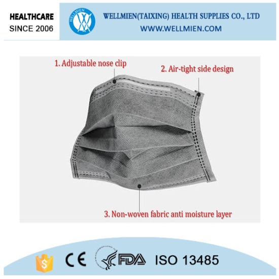 Disposable 4 Ply Nonwoven Black Carbon Face Mask pictures & photos