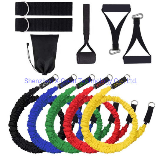 11PCS Custom Logo Printed TPR TPE Latex Tubes Heavy Duty Workout Equipment Fitness Exercise Elastic Band Set Resistance Bands