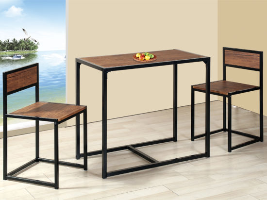 Manufacturer 3 Piece Dinner Table Small Dining Table Set for Kitchen Restaurant Walnut Living Room Furniture