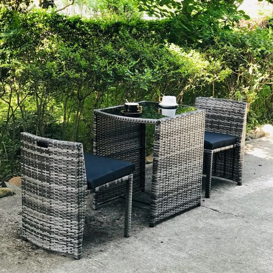 3pcs Steel Frame Bistro Rattan Chair, Grey Rattan Garden Furniture Cube Sets