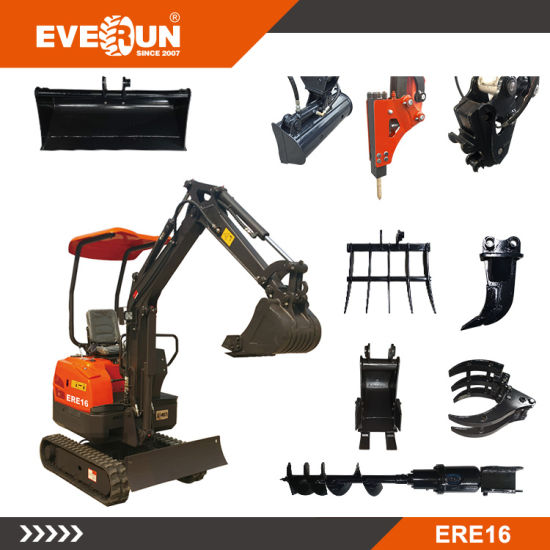 Everun Ere16 1.6ton Hydraulic Household Shovel Compact Bucket Construction Equipment Machinery Small Micro Mini Digger Crawler Excavator for Sale