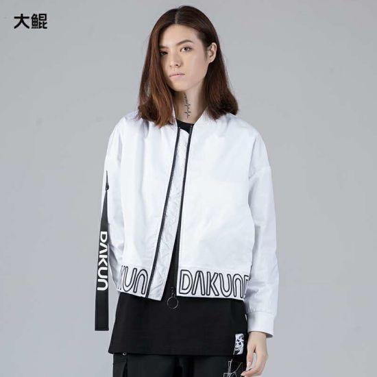 Brand Dakun Dropped Shoulder Sleeve Small Stick Collar Women's Jacket 100% Polyester Fashion Zipper Coat