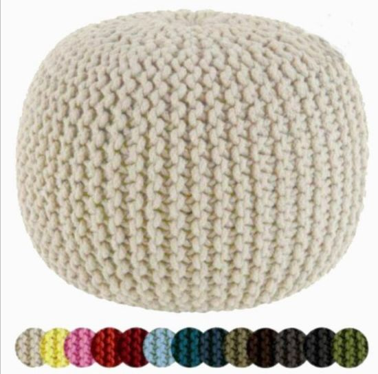 Knitted Pouffe Foot Stool Cushion