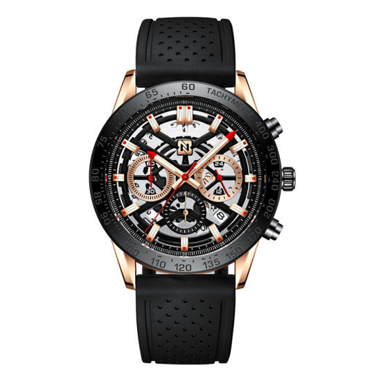 Factory Wholesale Bn6012g Hollow Quartz Watch Multi-Function Three Eye Six Needle Men's Watch