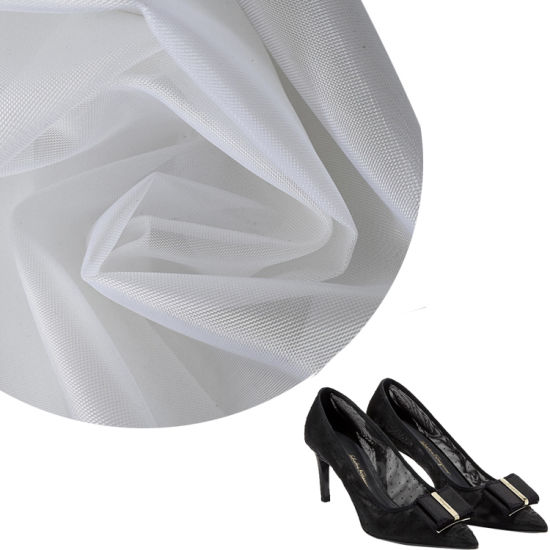 Profession Manufacturer White Jacquard 100% Polyester Hard Mesh Fabric for Shoes