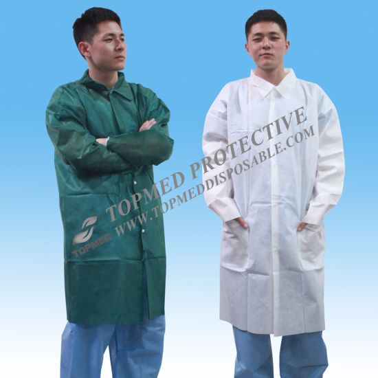 PP SMS PP+PE Hospital Gown Lab Coat with Ce Certificate pictures & photos