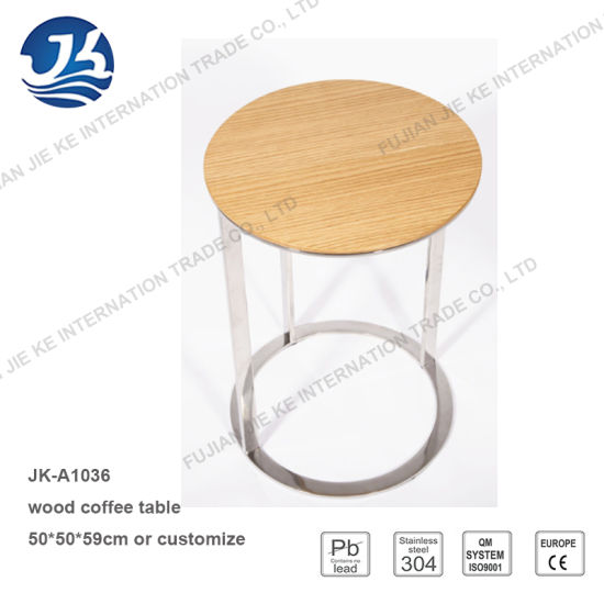 Low Round Wood Coffee Table.Hot Item Low Price C Shape Round Wood Side Table With Stainless Steel Frame