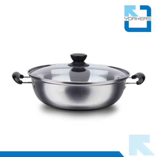 Hot Selling 28cm Double Handle Stainless Steel Chinese Hot Pot