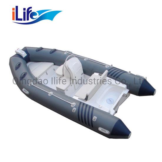 China Factory Rigid Hull Fiberglass PVC Inflatable Pontoon Boat Rib 430 with Ce