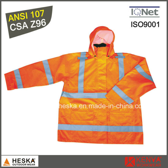 High Visibility Safety Wear Mens Reflective Rainwear with En20471 pictures & photos