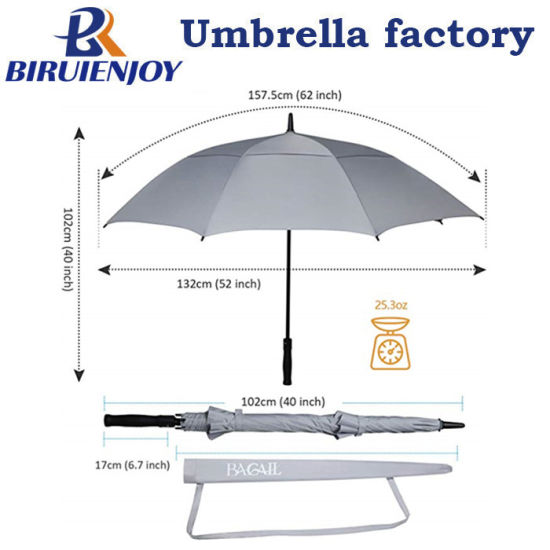 Custom Large Golf Umbrella Double Canopy Grey Pongee Rubber Handle for Gifts