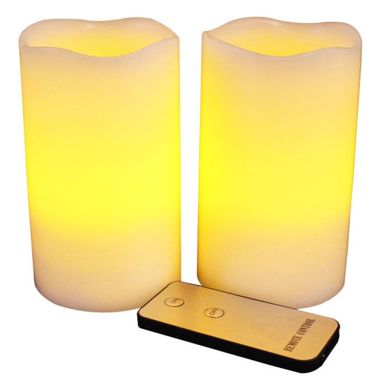 Amber Yellow and Ivory Wax Flameless Pillar LED Candle with Remote pictures & photos