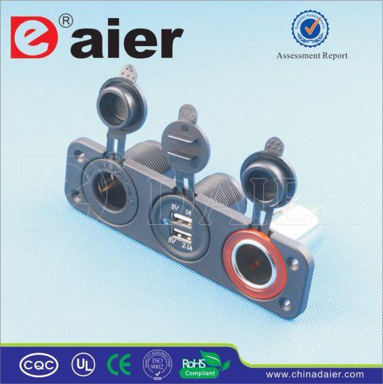 Daier Panel Mounted USB Controlled Socket&Car Cigarette Lighter Plug