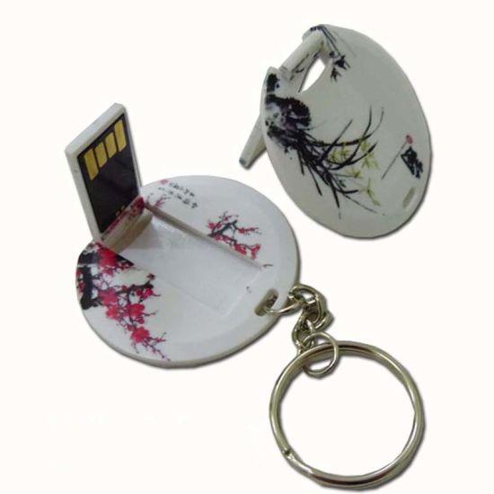 Circular Round Shape Card Shape USB with Full Color Printing 1GB 16GB (TF-0107)