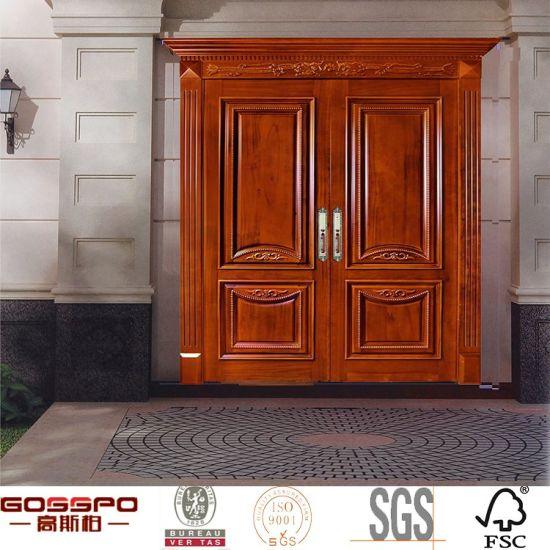 China Mahogany Double Entry Door Front Entrance Solid Wood Door