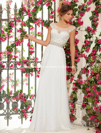 China Boat Neck White Bridal Gown Cap Sleeve Chiffon Wedding