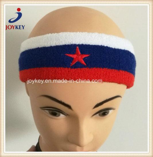 Sports Embroidery Terry Custom Cotton Headband