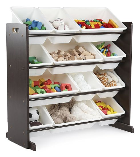 Children Toy Storage Living Room Furniture With 12 Plastic Bins