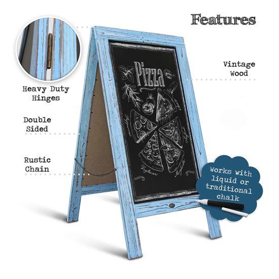 A-Frame Chalkboard Sign Rustic Wooden Sidewalk Easel Chalk Stand Menu Display