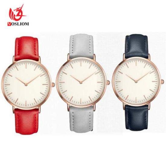Hot Retro PU Leather Band Analog Quartz Wrist Watch Clock Simple Casual Women Men Watches Ladies Minimalist Leather Strap Watch -V243 pictures & photos